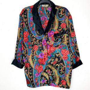 Vintage 90s Floral Satin Oversized Tunic Blouse